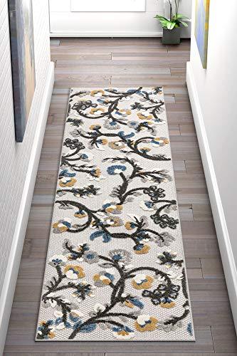 Well Woven Darla Floral Grey Indoor/Outdoor Area Rug 2x7 (2'3