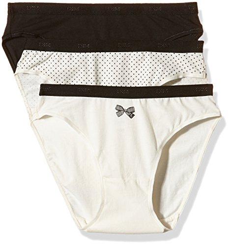 Dim Les Pockets Coton Slip X3 Braguita, Lot nœud Noir, 36/38 (Pack de 3) para Mujer