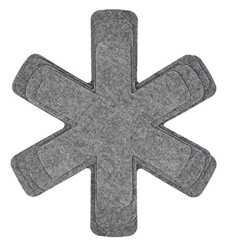 KADAX Pfannenschutz, 4er Set, rutschfest Stapelschutz, Topfschutz aus Polyester, Anti-Reibung Pfannenschoner, Trennblatt-Set (Grau)