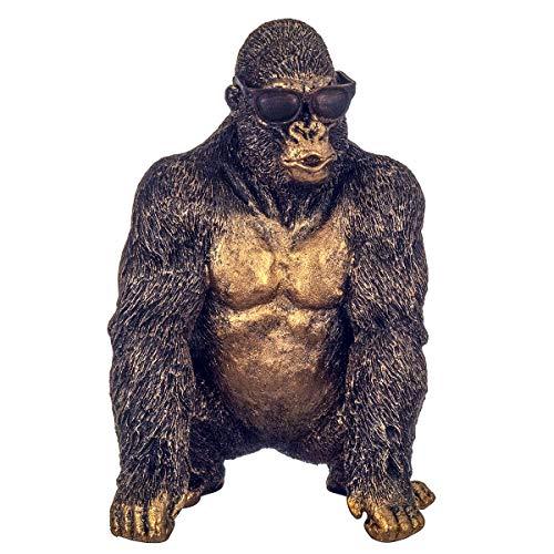 Bronze-Effekt Gorilla mit Sonnenbrille, Skulptur Affe Heimdekoration Figur Statue