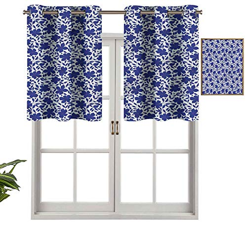 Hiiiman Short Straight Kitchen Grommet Drapery Valances Blue Tint Flowers Petals, Set of 1, 42'x18' for Living Room