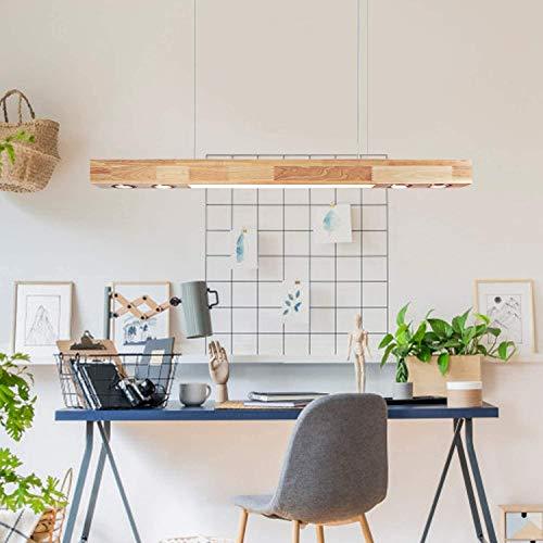 ZMH LED Pendelleuchte Holz Rustikal Hängelampe esstisch Hängeleuchte 35W 3000K Warmweiße Licht 120cm Pendellampe Küche Wohnzimmer Büro Arbeitszimmer