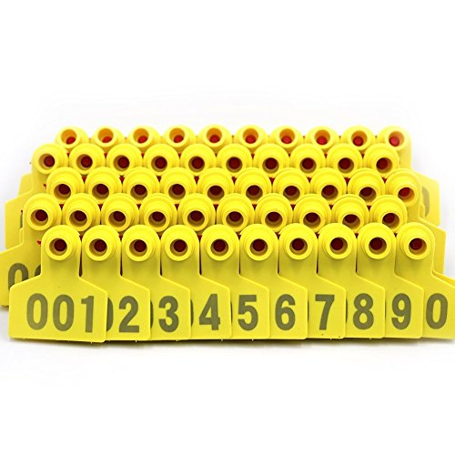 Farm & Ranch Étiquettes d'oreilles en plastique jaune de taille moyenne pour bétail de porc, de porc, de semence, avec numéro 001-100