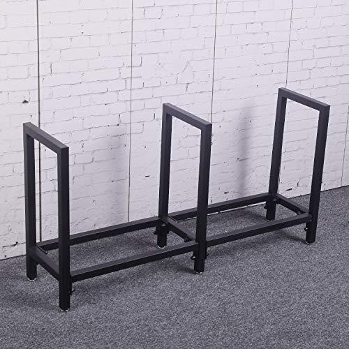 Ucared Firewood Racks Heavy Duty Log Rack 47 Inch Indoor/Outdoor Fire Wood Storage Black Steel...