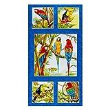 Stoff mit Papageien-Motiv, 100 % Baumwolle, bedruckt