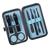 Burhetten 7 PCS de manicura del Arte del Clavo de Clippers Set Limpiador de la cutícula del Kit de Casos y estética (Color : Blue)