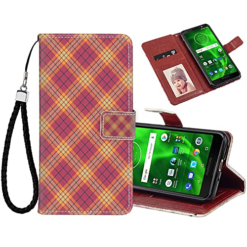 Phone Wallet Case for Moto G6, Premium PU Leather Case for Motorola Moto G6 Geometric Celtic Checkered Line Art Soft Colored British Tartan Style Repeating Pattern Multicolor