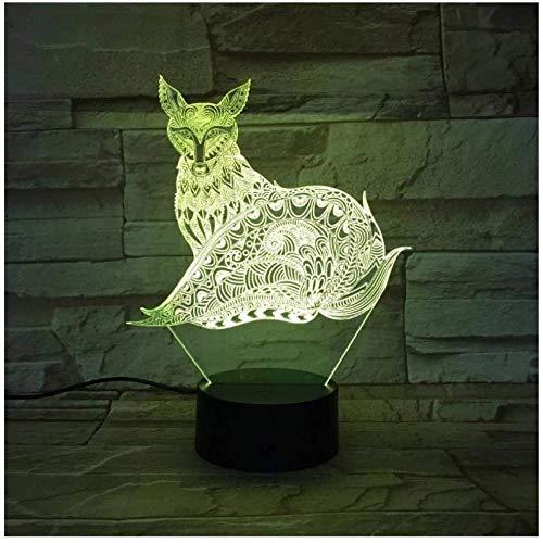 Luz de noche ilusión 3D luz de humor para niños Control remoto de 7 colores y luz de regalo de vacaciones con botón táctil - Zorro estampado