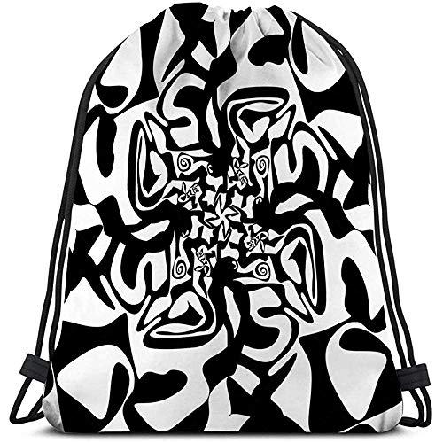 BOUIA Kordelzug Turnhalle Nahtlose Schwarze Marmor Textur dekorative Strudel Schablonen abstrakte Clip Art Kawaii Prints