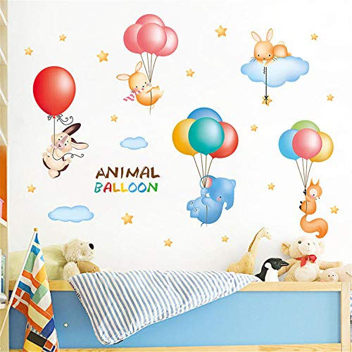 WSMSP 3D DIY PVC muur Stickers Woonkamer Slaapkamer Achtergrond Cartoon Dier Ballon Verwijderbare Sticker Familie Thuis Sticker Drop Verzending