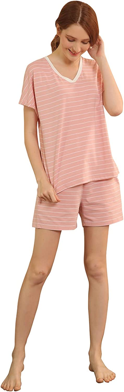 QianXiu Women Modal Cotton Nightgown 3 4 Sleeve Casual Stripe Pajama Nightdress
