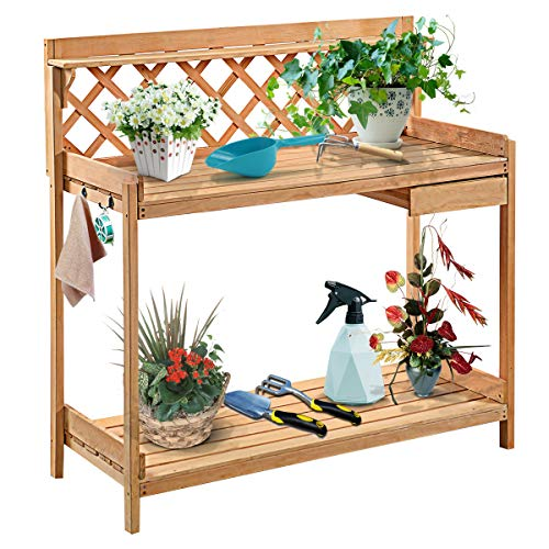 """Giantex Potting Bench Outdoor Garden Work Bench Station Planting Solid Wood Construction with Side Drawer Rack Shelves 45.25"""" L x 20"""" W x 45"""" H, Natural"""
