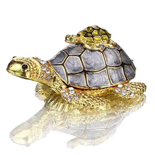 H&D HYALINE & DORA Mutter und Baby Schildkröte Schmuckkästchen mit funkelnden Kristallen handbemalte Figur Sammlerstück Ring Halter
