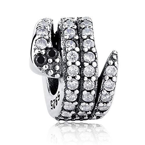 LILIANG Charm Jewelry 925 Cuentas De Serpiente De Plata Esterlina Encantos De Cristal Transparente Fit Pulsera Original Collar Joyería De Bricolaje