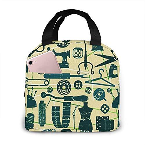 QCFW Lunch Tasche Kühltasche Picknick Schule Lunch Paket Kühlbox Isoliertasche Mittagessen Tasche für Herren Damen Kinder im Freien Nettes Nähen