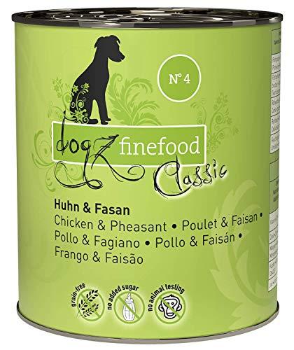 dogz finefood Hundefutter nass - N° 4 Huhn & Fasan - Feinkost Nassfutter für Hunde & Welpen - getreidefrei & zuckerfrei - hoher Fleischanteil, 6 x 800 g Dose