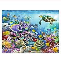ペイントby NumberキットPaintworks Diy油絵子供と大人 油絵 数字キット塗り絵 手塗り 海洋性動物-diyの木製フレーム