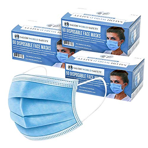TCP Global Salon World Safety - Face Masks 3 Boxes (150 Masks) Breathable Disposable 3-Ply Protective PPE with Nose Clip and Ear Loops