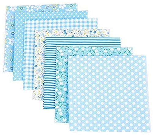 "RAILONCH 7pcs Floral Cotton Fabric 19.7""x19.7"" Textile Quilting Patchwork Fabric Fat Quarter Bundles Fabric for Scrapbooking Cloth Sewing DIY Crafts Pillows (Blue)"