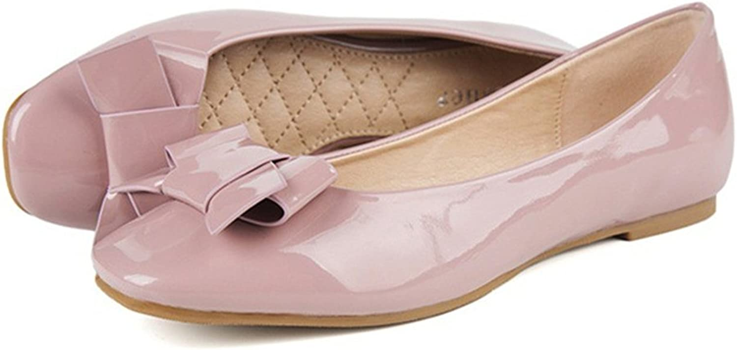 Square Bowknot Increased within Flat Thin shoes pink 40