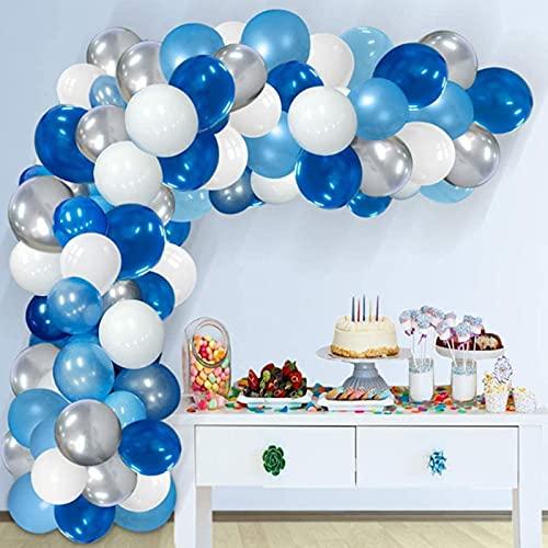 Qyaml Kit De Guirnaldas De Arco De Globos Azules De 119 Piezas, con Globos De Látex para Decoraciones De Fiesta De Cumpleaños De Niños Y Niñas