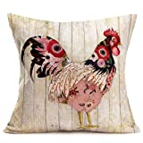 Fukeen Rooster Farm Decorative Pillow Covers Vintage Wood Background with Colorful Cock Throw Pillow Cases Cotton Linen Rustic Farmhouse Decor Standard 18x18 Inch Cushion Cover