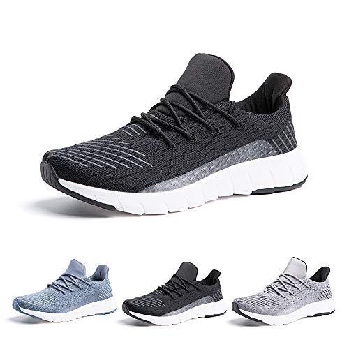 Zapatillas Running Hombre Bambas Zapatos para Correr y Asfalto Aire Libre y Deportes Calzado Casual Tenis Outdoor Gimnasio Sneakers Negro Gris Azul Número 38-48 EU Negro 44