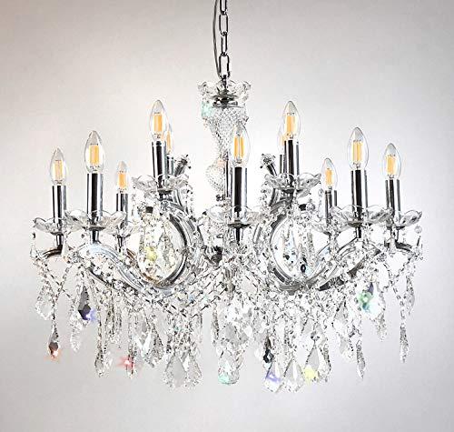 Kristallen kroonluchter Maria Theresia Ø72cm 12 lampen armen met glas ommanteld zilver