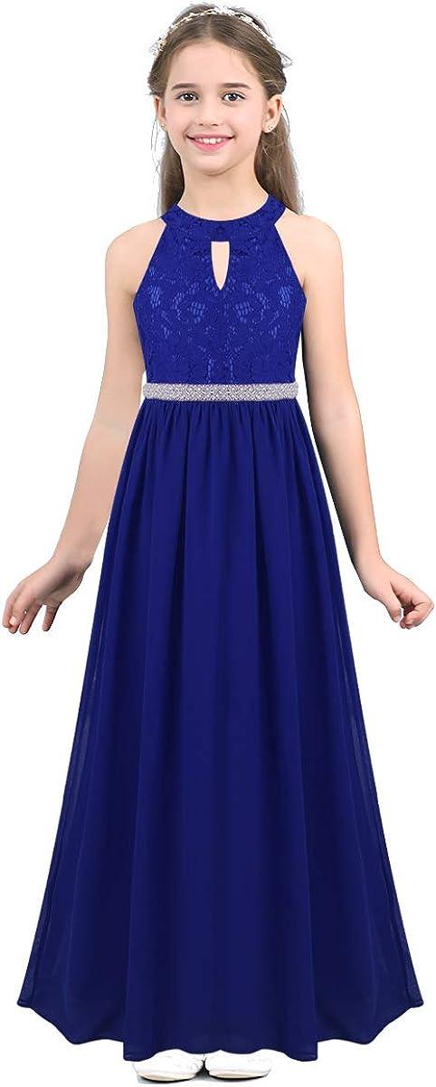 moily Kids Girls Halter Neck Lace Cutout Back Princess Dress Wedding Formal Party Flower Girl Dress