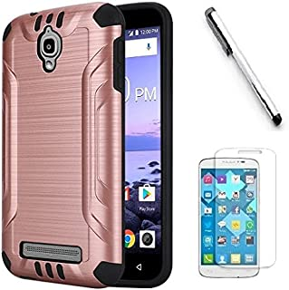 Coolpad Canvas 3636A Case, Luckiefind Slim Brush Texture Hybrid Defender Armor Protective Case Cover with Stylus Pen & Screen Protector Accessory (Rose Gold)