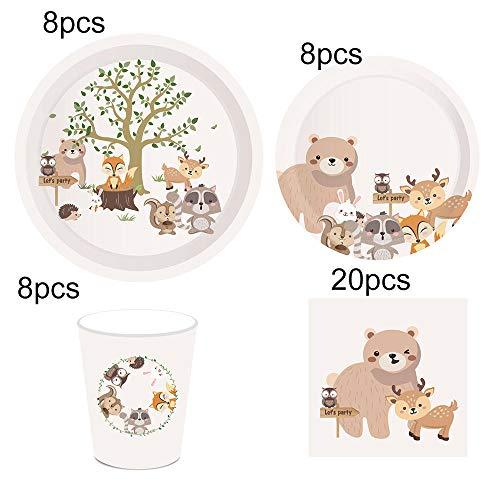 Set di stoviglie usa e getta per animali della festa di compleanno di Woodland Piatti/tazze/tovaglioli usa e getta animali della giungla Safari Decorazione degli animali