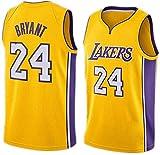 Uniforme Jersey Kobe Bryant de Los Ángeles Lakers No.24 Verano Camisetas de Baloncesto Masculino Bordado # 24 Kobe Bryant Fans Baloncesto Ropa Bordado Artesanía Tejido (Amarillo, L)