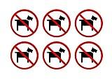 No Pets Dogs Allowed Sticker Sign 3' Pack of 6 Vinyl Decal Indoor Outdoor Window Door Business Retail Store