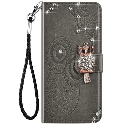 IKASEFU Compatible with Samsung Galaxy A32 Case Bling Glitter Owl Rhinestone Diamond Emboss Pu Leather Wallet Strap Case with Card Holder Magnetic Protective Flip Book Cover Case Gray