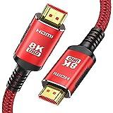 Cable HDMI 2.1 8K 2m - Snowkids HDMI 8K@60HZ&4K@120HZ 2.1 antideslizante versión actualizada con eARC 48 Gbps HDR HDCP 2.3 compatible con HDTV, PS3/PS4, PC