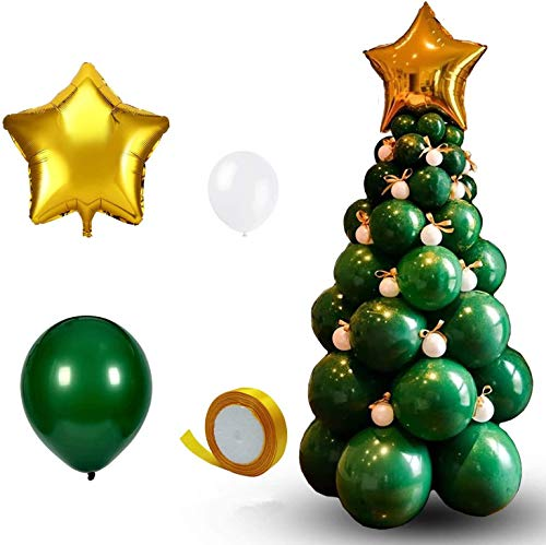 Wecepar Christmas Tree Balloon Garland Arch kit 95 Pieces Christmas Tree Green Balloons and Golden Star Foil Paper Balloon for Christmas Party Decorations