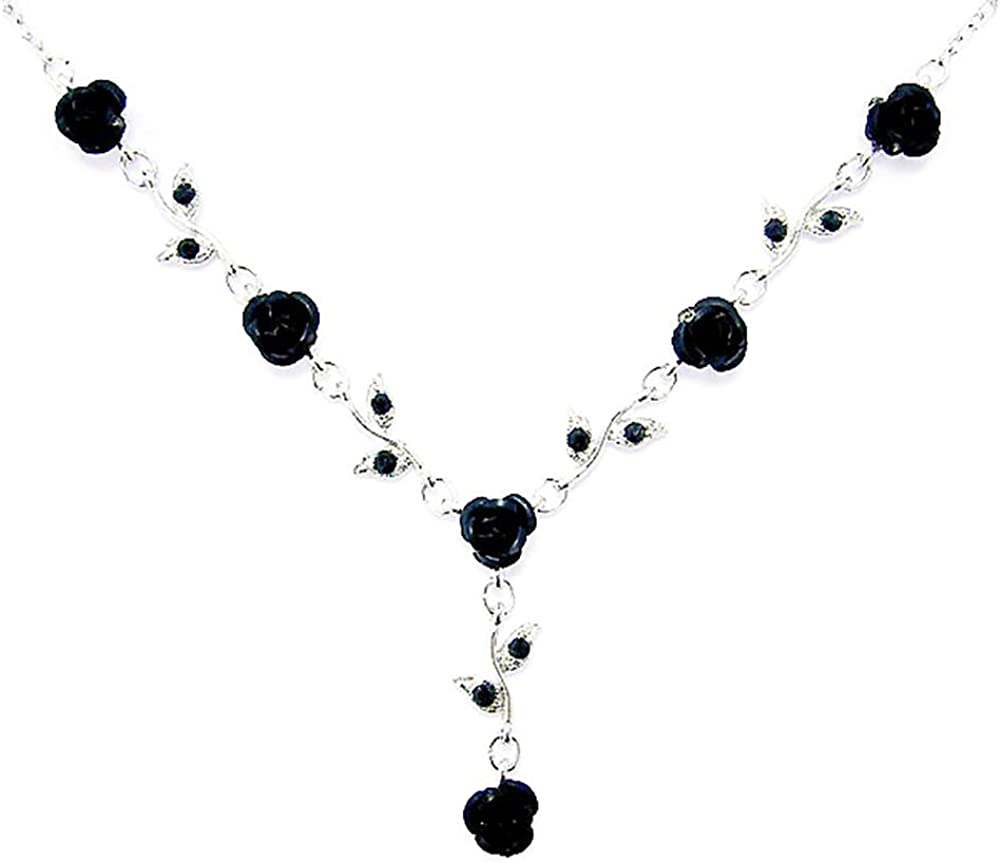 Women's Fashion Jet Black Austrian Crystal Metal Rose Link Flower Necklace, 15