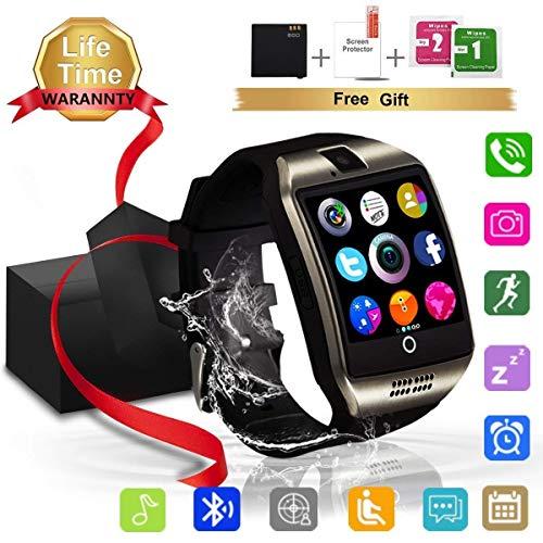 Smartwatch, Impermeable Reloj Inteligente Redondo con Sim Tarjeta Camara Whatsapp, Bluetooth Tactil Telefono Smart Watch Smartwatches para Android iOS Hombre Mujer Niño Niña (q18)
