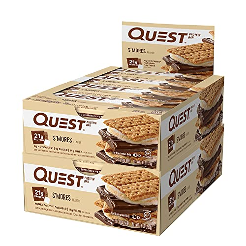 Quest Nutrition Protein Bar S'Mores. Low Carb Meal Replacement Bar with 20 gram Protein. High Fiber, Gluten-Free (24 Count)