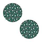 Little Roses and Bones Skulls Coasters - Round Drinks Absorbent Stone Coaster Set with Ceramic Stone and Cork Base for Kinds of Mugs and Cups,Office,Kitchen (Set of 2)