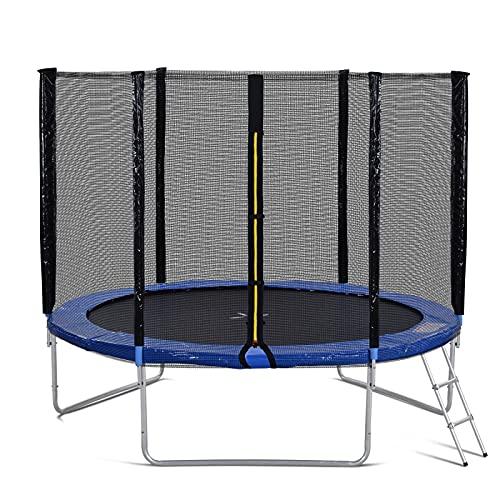 Lazyspace Trampolino da giardino con recinzione di sicurezza e scala, trampolino da 10 m, 150 kg, ha superato i test GS e TUV