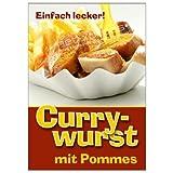 net-xpress Werbeplakat Currywurst mit Pommes DIN A1, Plakat