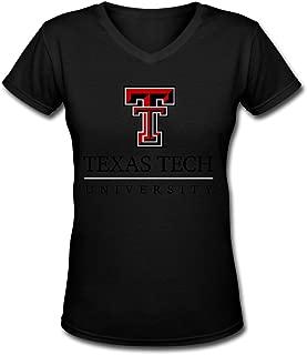 Dalef Women's Texas Tech Red Raiders 5 Punk Cotton T Shirt Size US White