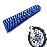 Bicycle Dirt Bike Spoke Cover 72Pcs Wheel Rim Spoke Skins Cover Wraps Set Universal for Yamaha Kawasaki Suzuki 8'-21' Rims Tubes Decor Protector Blue