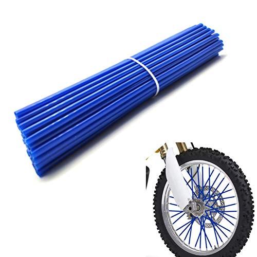 "Bicycle Dirt Bike Spoke Cover 72Pcs Wheel Rim Spoke Skins Cover Wraps Set Universal for Yamaha Kawasaki Suzuki 8""-21"" Rims Tubes Decor Protector Blue"