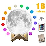 mono living, Moon Lamp,16 Colors 3D Print Moon Light (4.7inch) LED with Stand Remote Control, Nursery Night Light Birthday Anniversary Gift Family Couple Daughter Mother Teen Girl Boyfriend Girlfriend