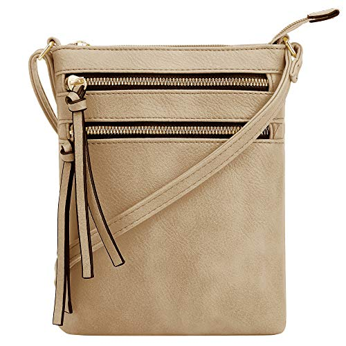 DELUXITY | Crossbody Purse Bag | Functional Multi Pocket Double Zipper Purse | Adjustable Strap | Medium Size Purse | Camel