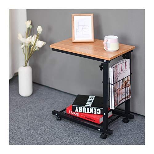 Klappbarer Tisch- Esstisch Computertisch Lernen Schreibtich Pflegetisch, Bettisch Frühstückstisch Höhenverstellbar (Color : Teak)