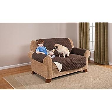 Elegante Luxurious Reversible LOVESEAT Furniture Protector, Coffee / Tan