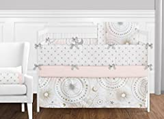 9 Piece Set Includes: Crib Blanket: 45 in. x 36 in., Bumper: (2) Short Sides: 27 in. x 10 in. and (2) Long Sides: 52 in. x 10 in., Skirt: 52 in. x 28 in. x 15 in. drop, Fitted Crib Sheet: 52 in. x 28 in. x 8 in. pocket, Valances: 15 in. x 54 in. each...